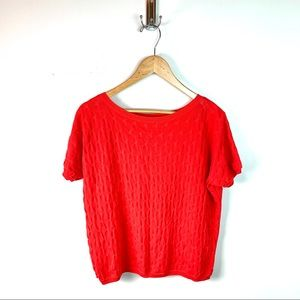 COS Bright Red Textured Short Sleeved Sweater